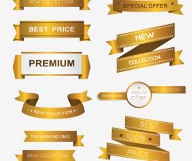 Luxury golden ribbons vectors banners 02