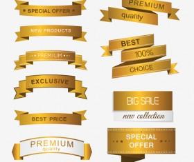 Luxury golden ribbons vectors banners 03