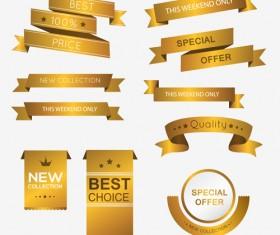 Luxury golden ribbons vectors banners 04