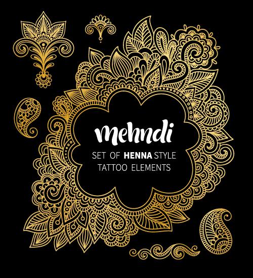 Mehndi Styles Henna Tattoo Elements Vector 03 Free Download