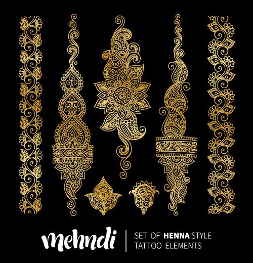 Henna Mehndi Vector Free : Mehndi styles henna tattoo elements vector
