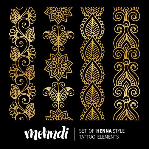 Mehndi styles henna tattoo elements vector 09