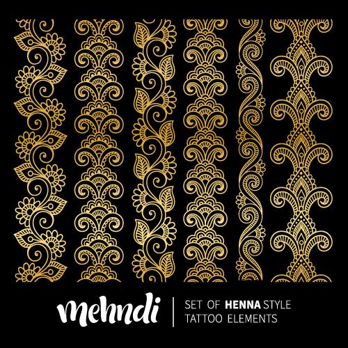 mehndi styles henna tattoo elements vector 10 download name mehndi ...