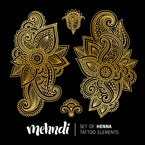 Mehndi Styles Henna Tattoo Elements Vector 13 Free Download