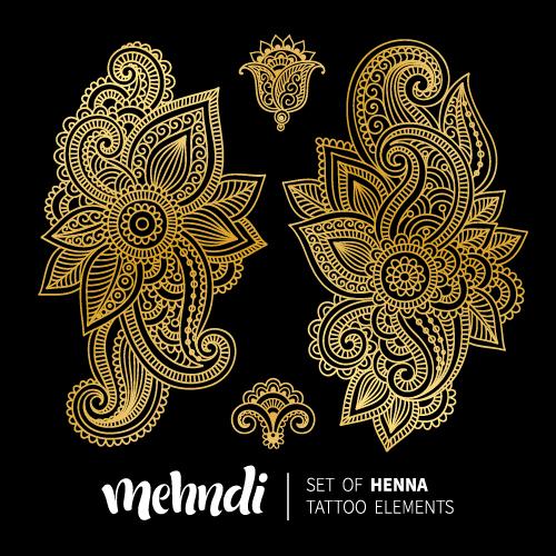 mehndi styles henna tattoo elements vector 13 download name mehndi ...