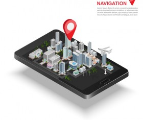 Mobile with navigation vector template 03