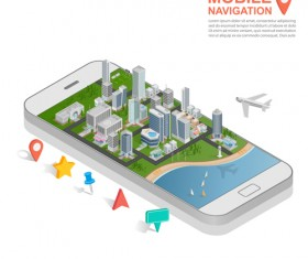 Mobile with navigation vector template 04