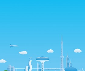 Modern city futuristic buildings and transportation vector 05