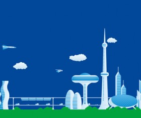 Modern city futuristic buildings and transportation vector 06