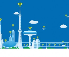 Modern city futuristic buildings and transportation vector 07