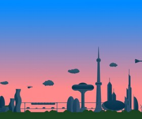 Modern city futuristic buildings and transportation vector 08