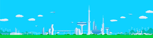 Modern city futuristic buildings and transportation vector 09