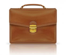 Modern leather briefcase set vector 01