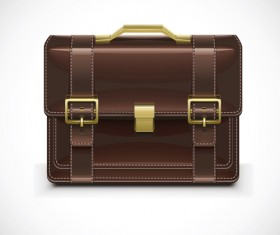 Modern leather briefcase set vector 02