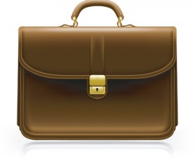 Modern leather briefcase set vector 04