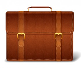 Modern leather briefcase set vector 05