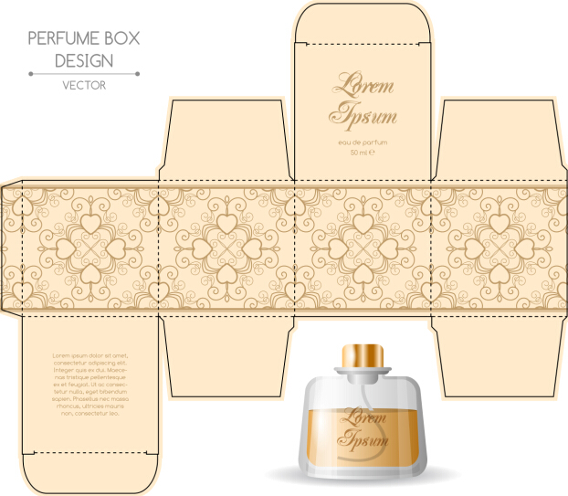 Perfume packging box material vector set 07 vector cover for Cologne box template