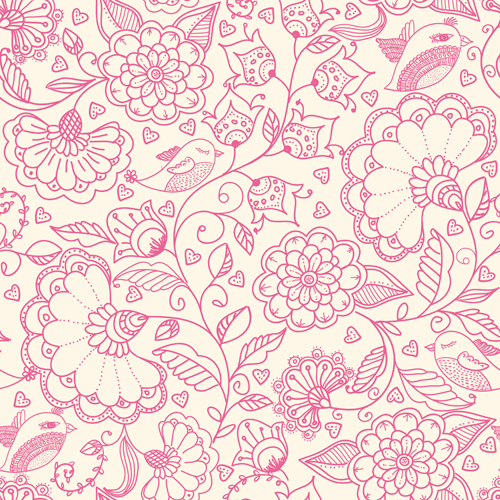 Pink outlines flower seamless pattern vector 01