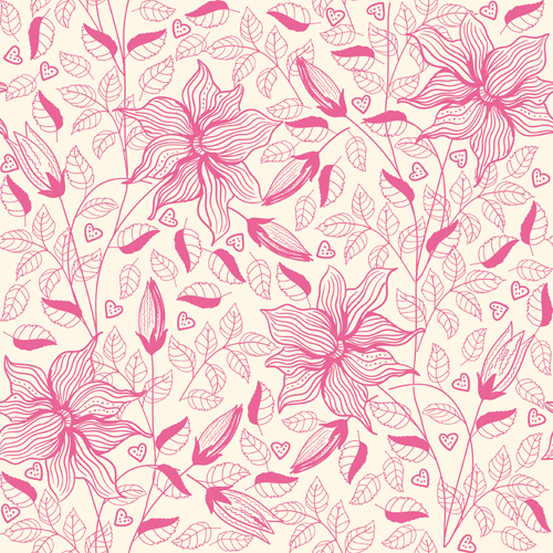 Pink outlines flower seamless pattern vector 02