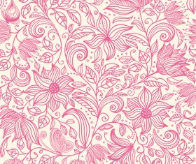Pink outlines flower seamless pattern vector 03