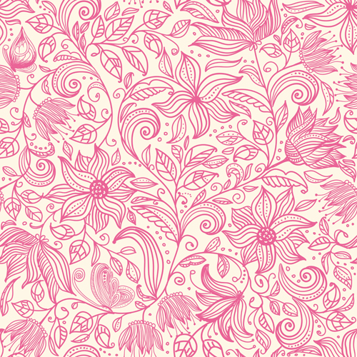 pink outlines flower seamless pattern vector 03 free download
