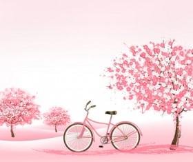 Pink tree with bike spring background vector 01