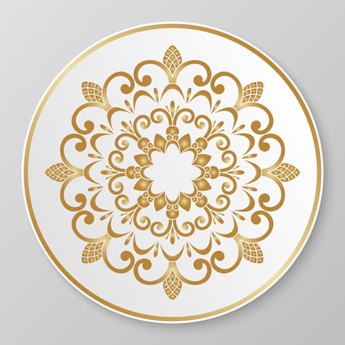Plates with golden floral ornaments vector 04