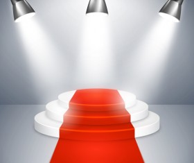 Podium with red carpet and spotlight vectors 01