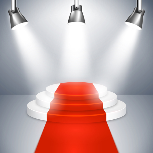 Podium With Red Carpet And Spotlight Vectors 01 Free Download