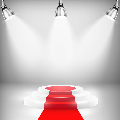 Podium with red carpet and spotlight vectors 03 free download