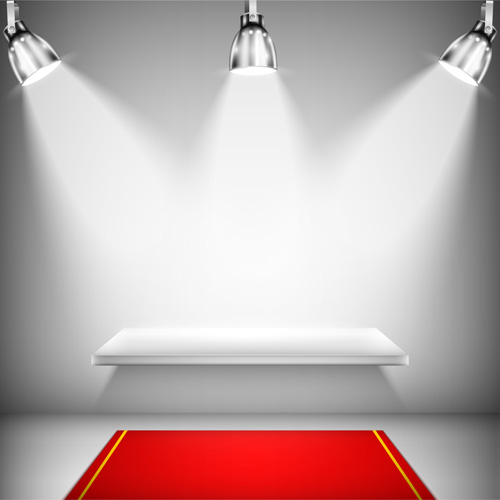 podium with red carpet and spotlight vectors 05 free download