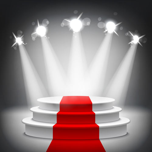 Podium With Red Carpet And Spotlight Vectors 06 Vector