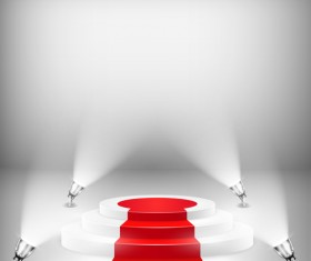 Podium with red carpet and spotlight vectors 07