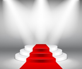 Podium with red carpet and spotlight vectors 08