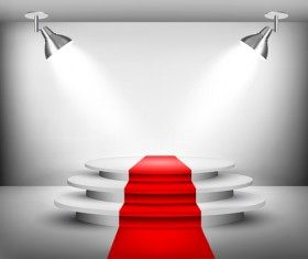 Podium with red carpet and spotlight vectors 09