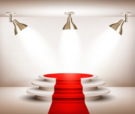 Podium with red carpet and spotlight vectors 10