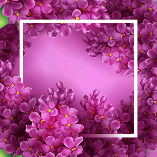 Purple Lilac Flowers Vector Background Free Download