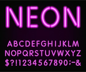 Purple neon light alphabet vector design 02