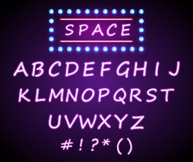Purple neon light alphabet vector design 03