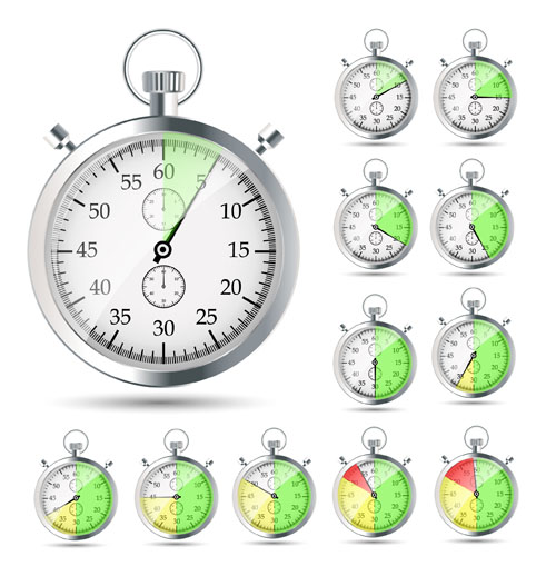 Realistic stopwatch set vector material 01