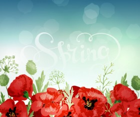 Red poppies with spring background vector 05