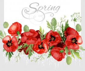 Red poppies with spring background vector 06