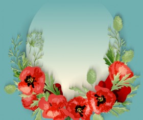 Red poppies with spring background vector 07