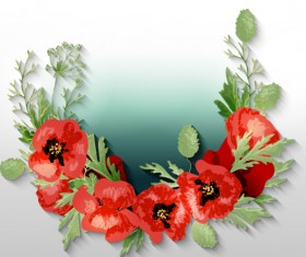 Red poppies with spring background vector 09