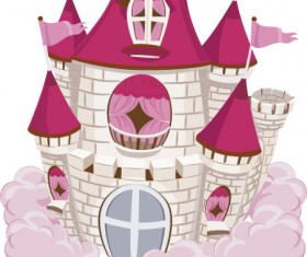 Red with pink castles vector