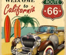 Retro car travel poster vector graphics 01