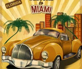 Retro car travel poster vector graphics 02