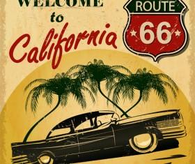 Retro car travel poster vector graphics 03