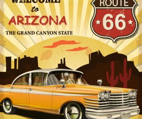 Retro car travel poster vector graphics 04