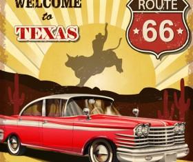 Retro car travel poster vector graphics 05